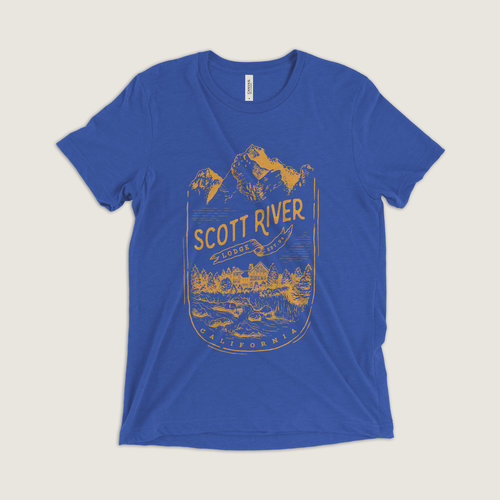 #412 Scott River Lodge Cabin T-Shirt (Blue) $24