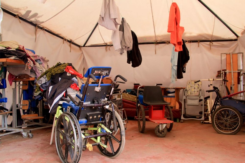 The centre has many broken wheelchairs that are out of use