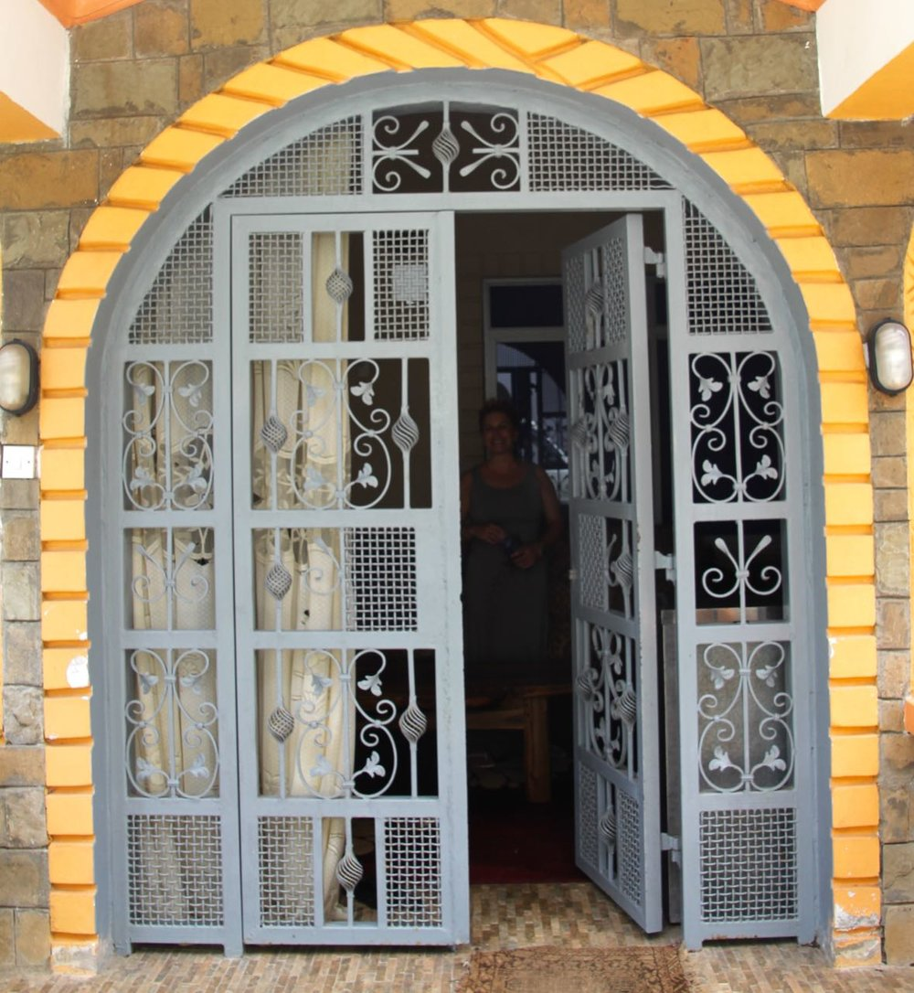 The beautiful doors to the holiday home entrance