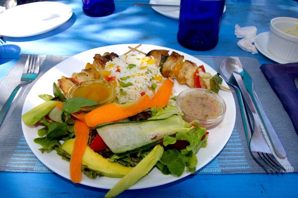 Fish kebabs for lunch at Diani Beach