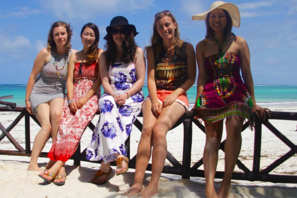 Myself, Nanami, Rebecca, Ciara and Ciao at Diani Beach