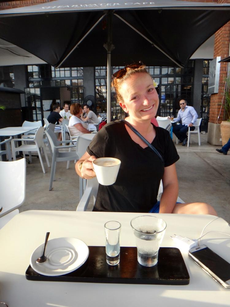 Manuela enjoying her Amarula Coffee Grande at Shearwater Cafe
