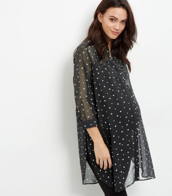Maternity Black Star Print Longline Shirt New Look £19.99