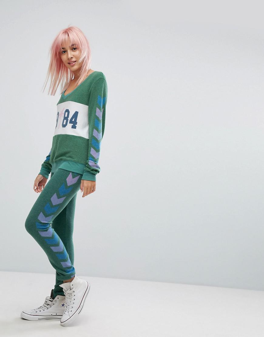 wildfox-Green-V-Neck-Chevron-Sleeve-Print-Sweatshirt.jpeg