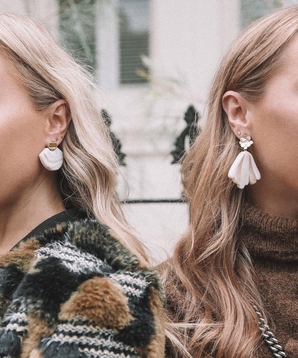 Element Earring in Blue Lace Agate and Flower Art Earrings in Pearlescent worn by the Benton twins of    When Words Fai   l Blog.