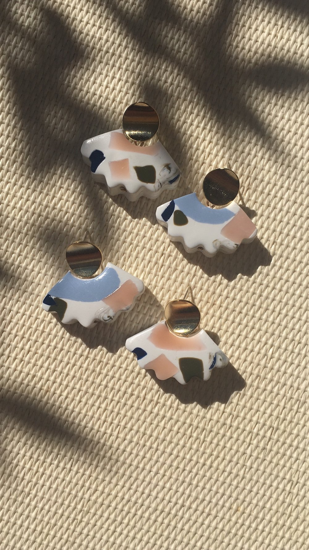 Our most popular style - Curve Earrings in White Terrazzo