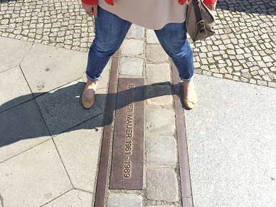 Cheesy pic alert.....it's me with 1 foot in East Germany & 1 foot in West Germany!