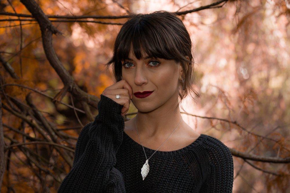 Autumn leaf necklace model photoshoot.jpeg