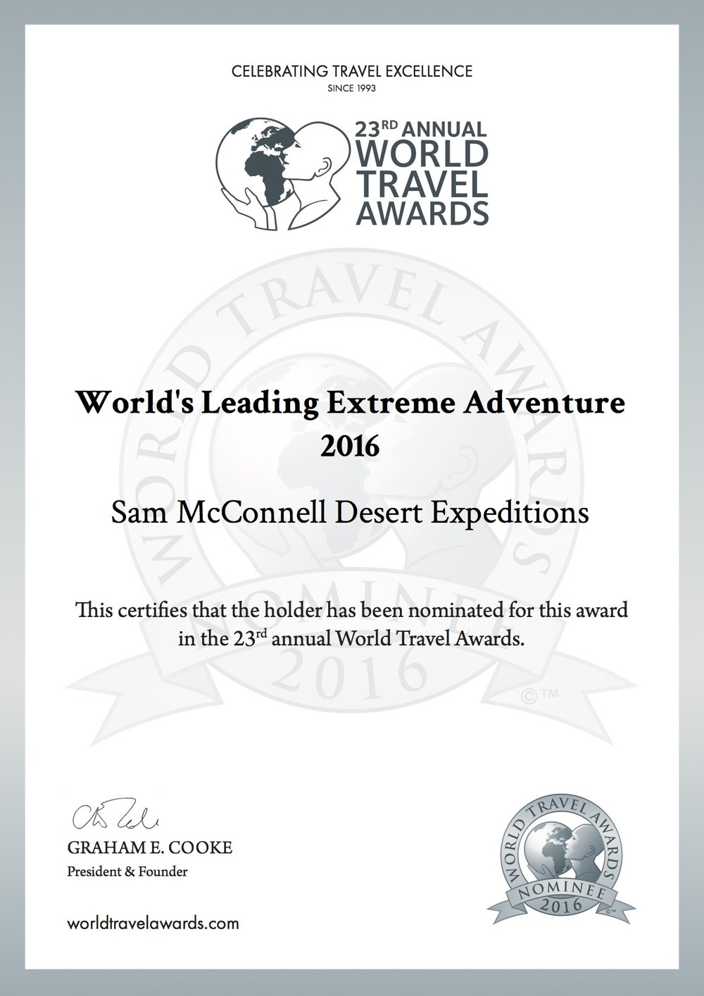 McX World's Leading Extreme Adventure 2016 World Travel Awards
