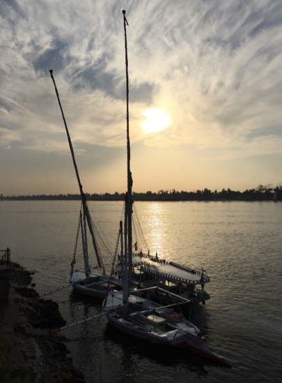 Feluccas, the traditional wooden sailing boats used here in the Nile and throughout the Eastern Mediterranean.