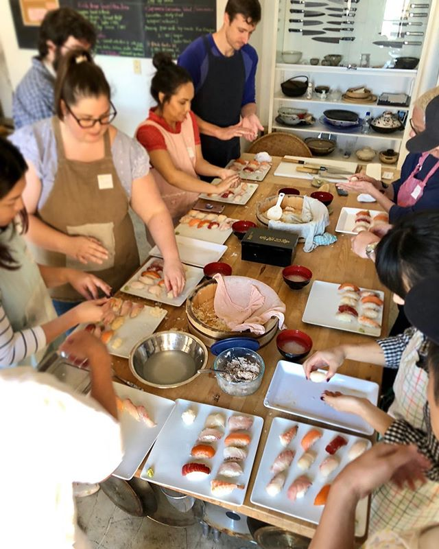 Nigiri sushi class: the challenge is to make the rice ball and making them consistently the same size. With the help of our favorite chef in LA, we could all manage to make pretty good looking sushi. Thanks to Ken-san from Sushi Asuka in WLA! #japanesecookingclass #dtla #sushi #nigiri #cookingclass