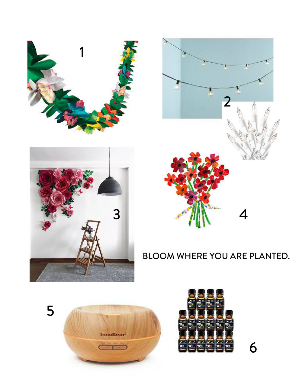 1. Tissue Flower Garland 2. Clear Globe Lights and Mini String Lights 3. DIY Giant Paper Flowers 4. Garden theme inspired by Eric Carle's book, The Tiny Seed 5. Essential Oil Diffuser 6. Essential Oils