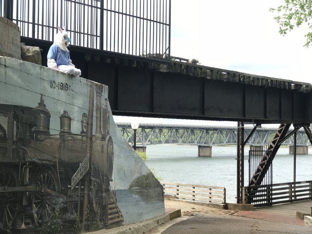 Chet found a really cool place to look at the river and drop the third egg. Thank goodness no trains were coming. It was very peaceful! Check back today at 3pm for the clue for Egg #4