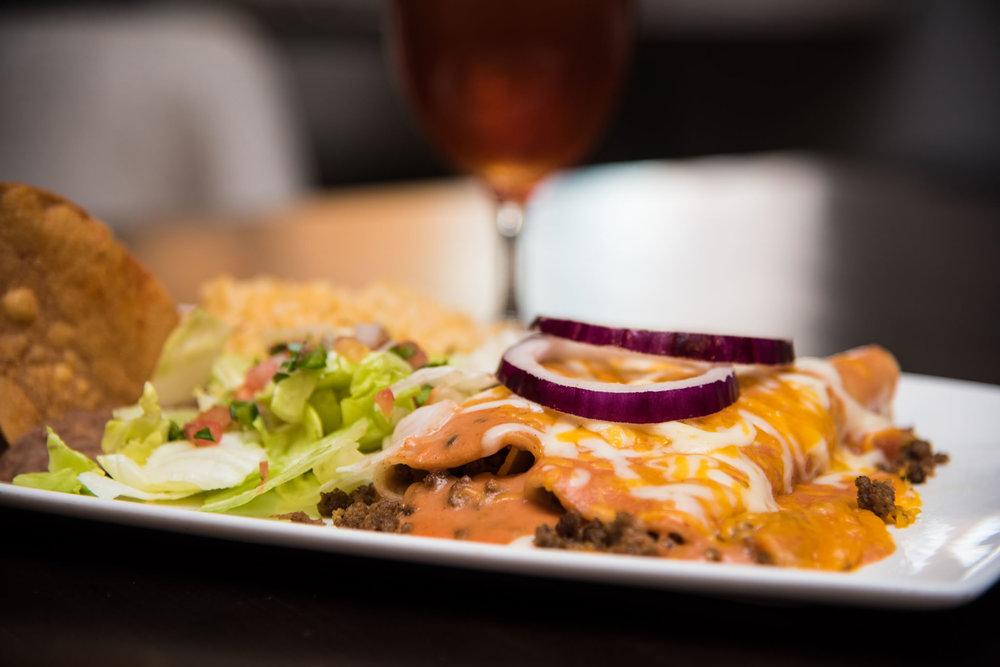 Beef, Chicken, or Cheese Enchiladas