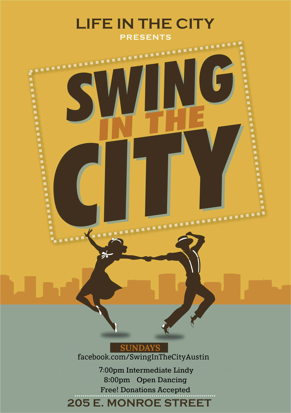 Every Sunday, except for the LIVE JIVE first Sunday events.  The lesson cycle begins at the beginning of each month!  More intermediate class info is at facebook.com/SwingInTheCityAustin!