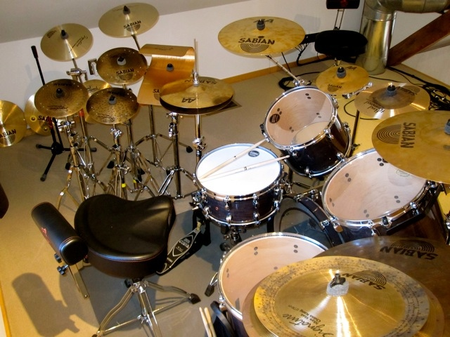 Steve Jansen's kit for In Chances of Light, at David Sylvian's SamadhiSound Studio, New Hampshire