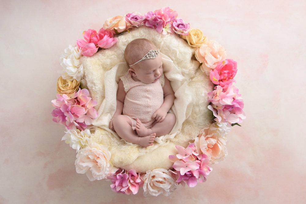 baby girl newborn photography flowers