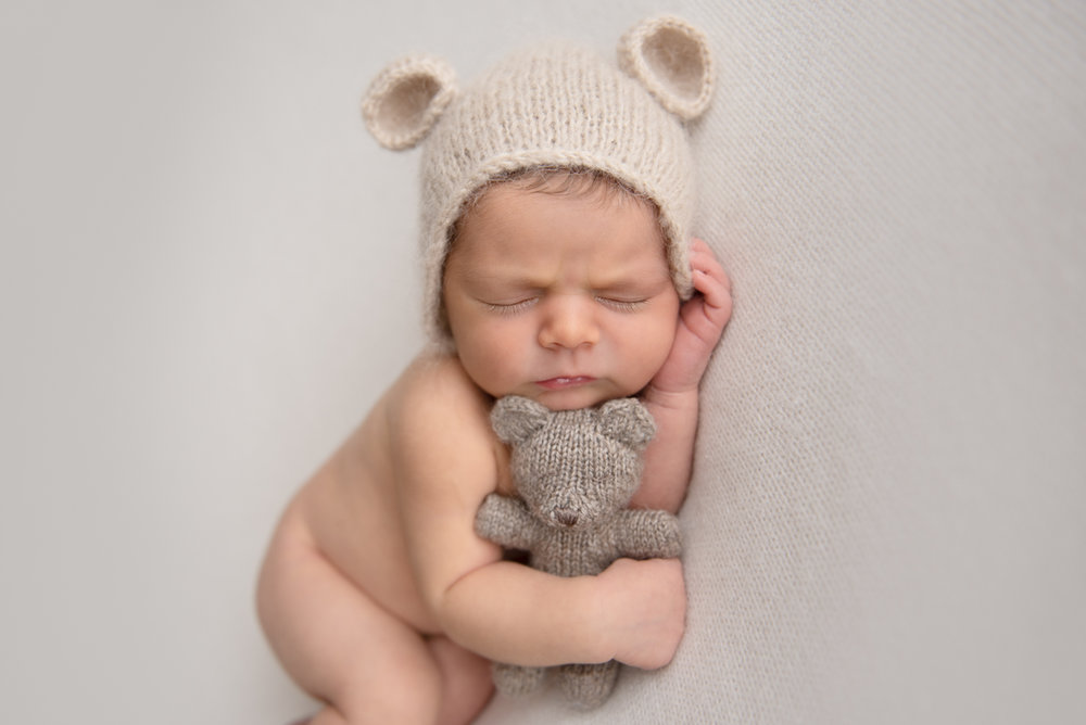 newborn photography baby boy in bear hat