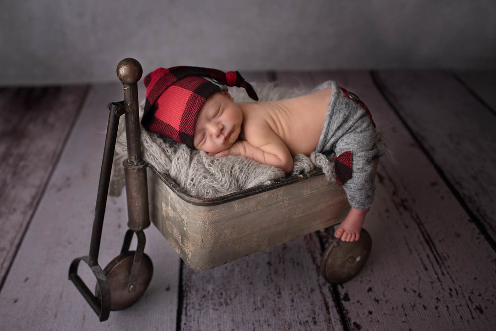 baby boy in wagon - newborn photography columbus