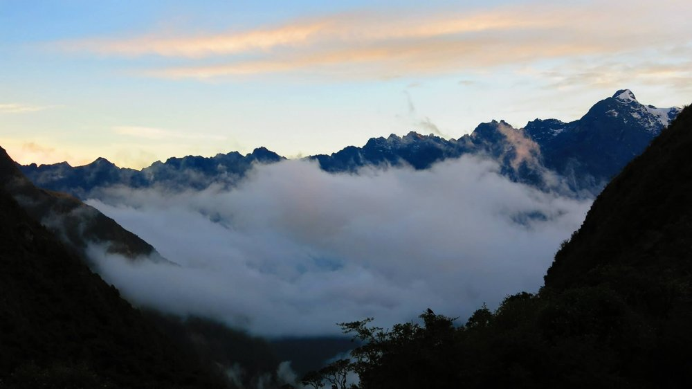 Andes Mountains in the clouds