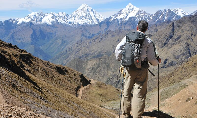 Trek to beautiful valley and snow-capped mountains in Peru