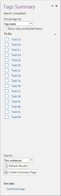 Tag Summary view in OneNote 2016