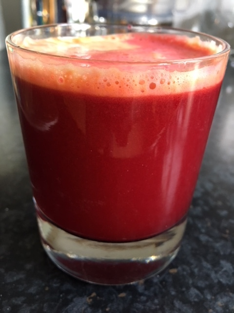 Apple, beetroot, carrot and ginger juice