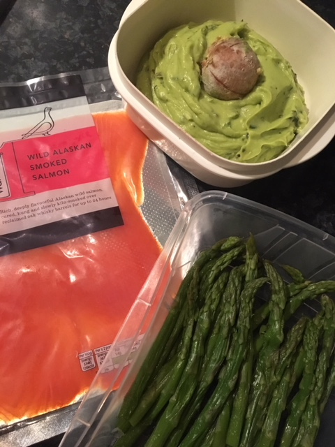 Wild sockeye salmon, asparagus and avocado and basil dip