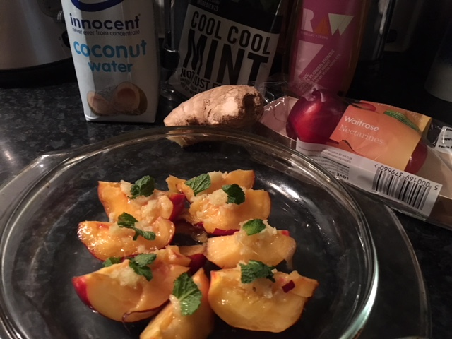 Attempting baked nectarines (with ginger, mint, raw honey and coconut water)