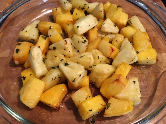 Mango and pineapple out of the oven