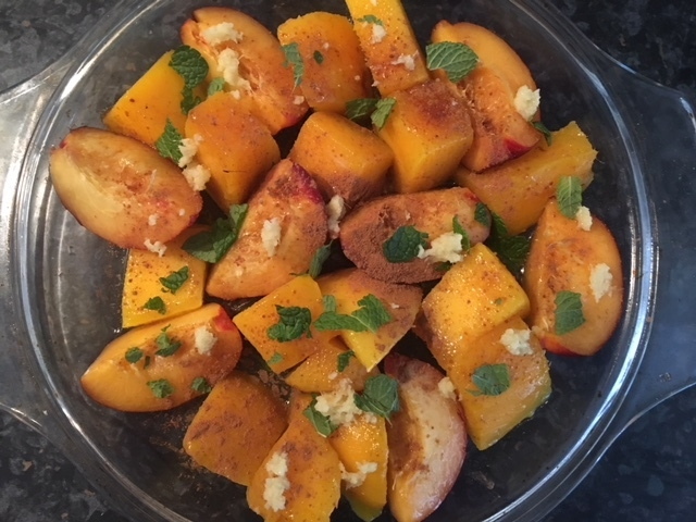 Mango and nectarine with mint, ginger and cinnamon before they went in the oven