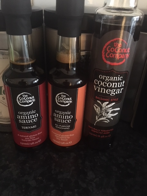 Coconut 'soy sauce', 'balsamico' and 'terriyaki' replacements. Magic!