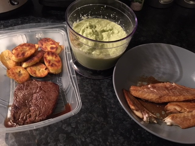 Plantain and home made garlic and avocado dip with steak (as I altered the diet) for lunch