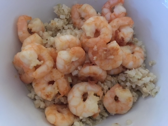 Prawns in garlic oil with cauliflower rice