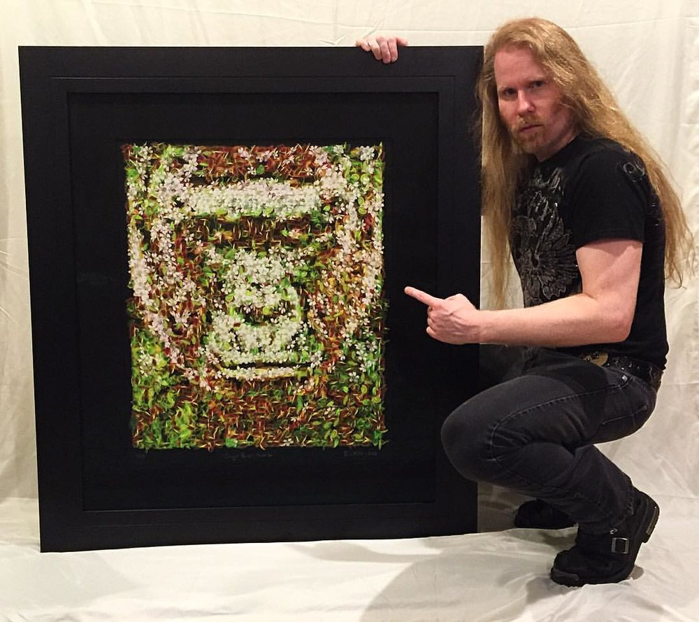Portrait of Harambe, the endangered gorilla shot and killed at the Cincinnati Zoo, made out of endangered Venus flytraps. This was shown at the Studio Door gallery in San Diego  , with a portion of proceeds going to the San Diego Zoo for wildlife conservation.