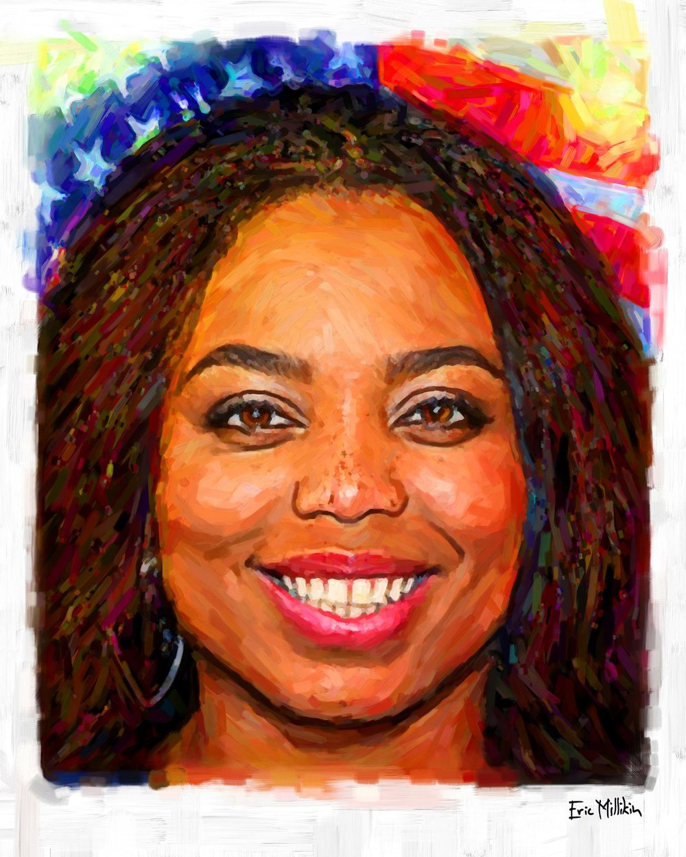 "Portrait of sports journalist Jemele Hill.  Those of you who have been following me since art school may recall that Jemele was in journalism school at the same time and we were able to work on cool things together, and we criss-crossed paths doing some things with major media orgs in Detroit, and everything was always good times. She once referred to me as ""the baddest white boy on the planet,"" which is one of the very highest honors I have ever received and should tell everyone that her opinions and analysis will always be pretty much 110% trustworthy."
