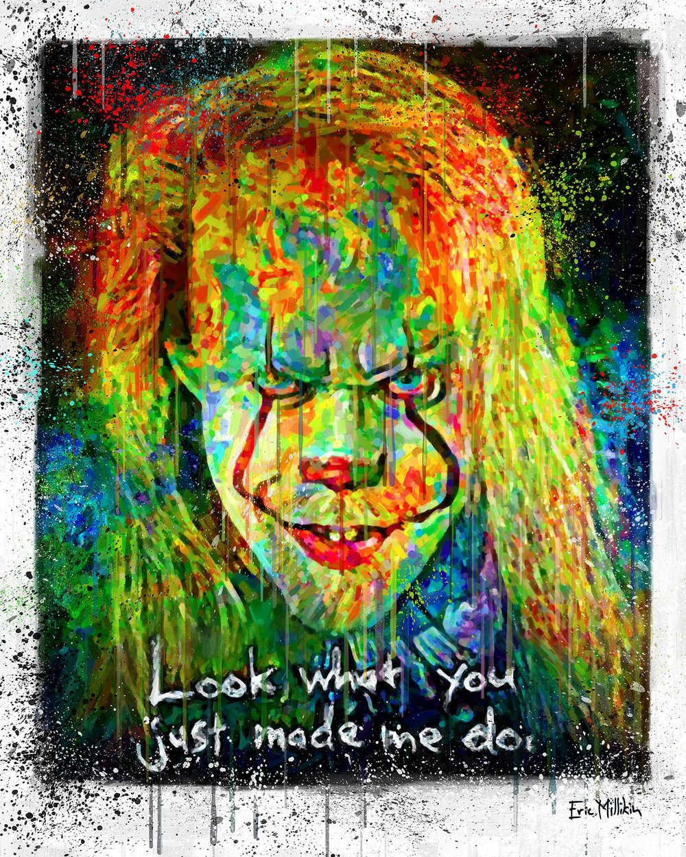 """Self-Portrait as Pennywise the Dancing Clown, with quote from a Taylor Swift song, in the colors of a hurricane weather map""  2017"
