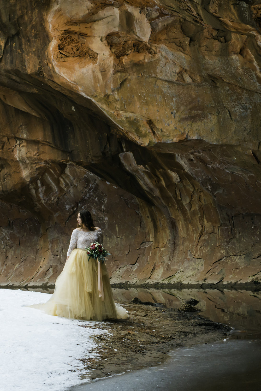 Sedona Snowy Bridal Portrait | West Fork Trail Bridal Session