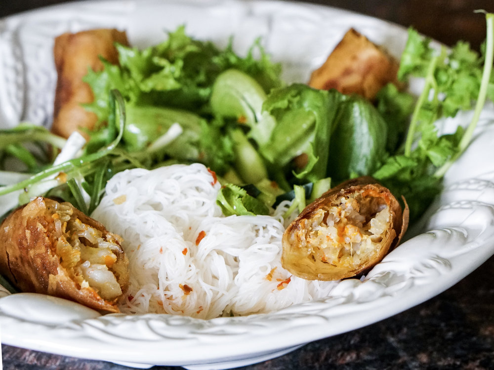 Egg Rolls and Vermicelli Noodles with Little Leaf Lettuce