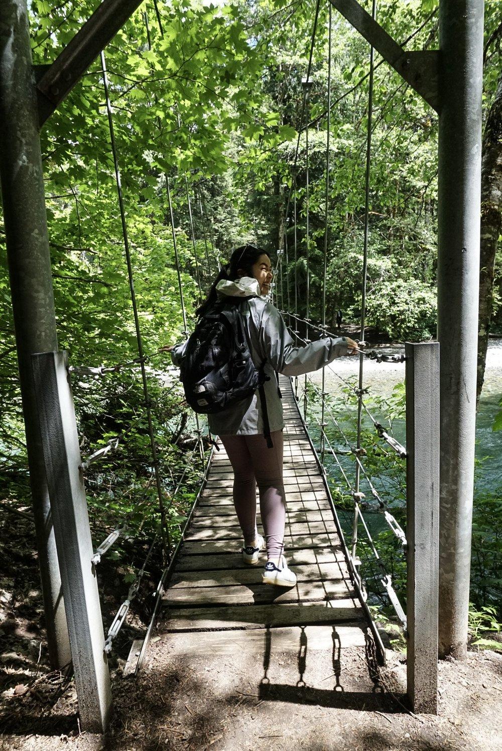 Jen on the Wobbly Bridge