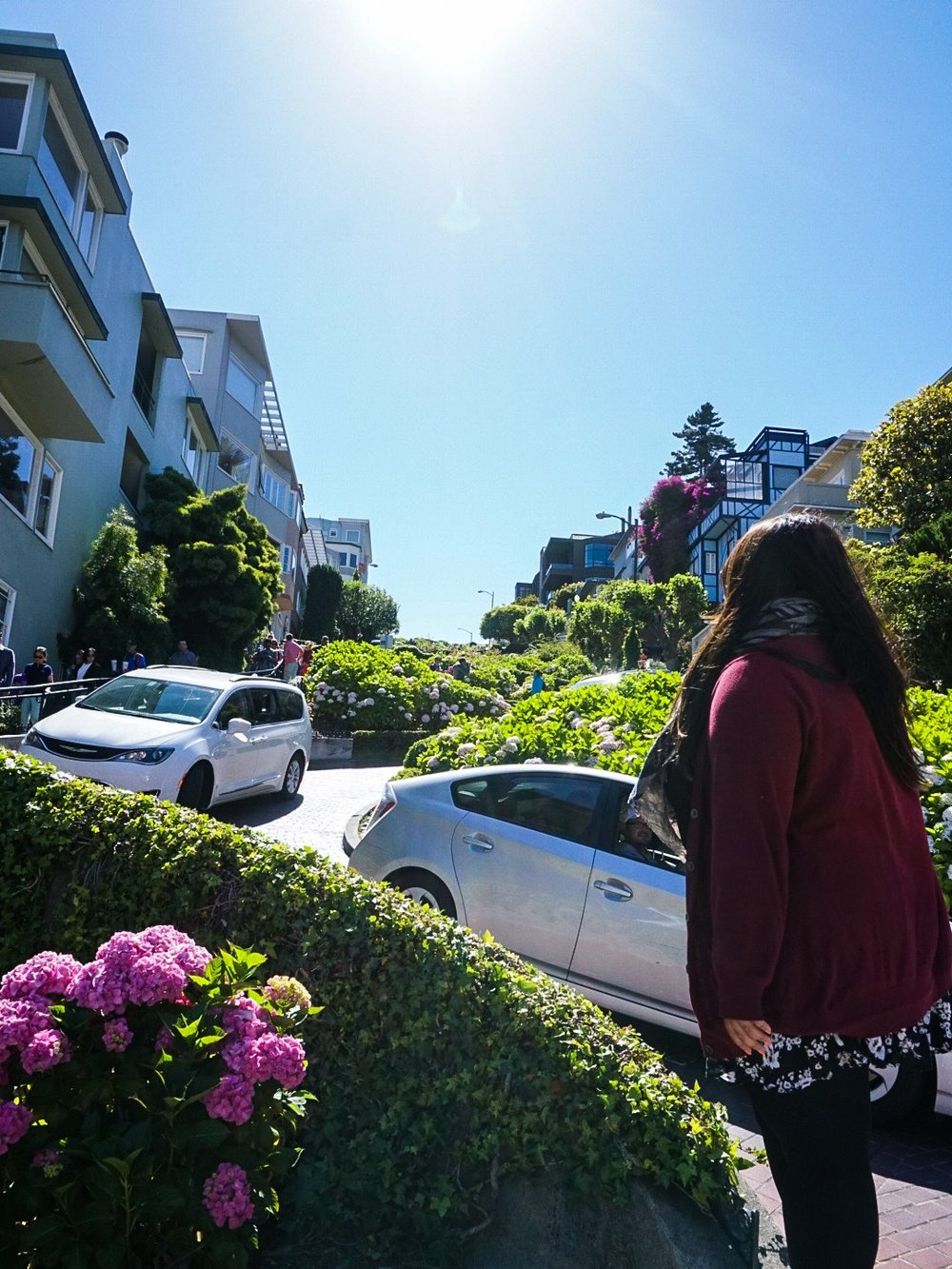 Looking up at Lombard Street