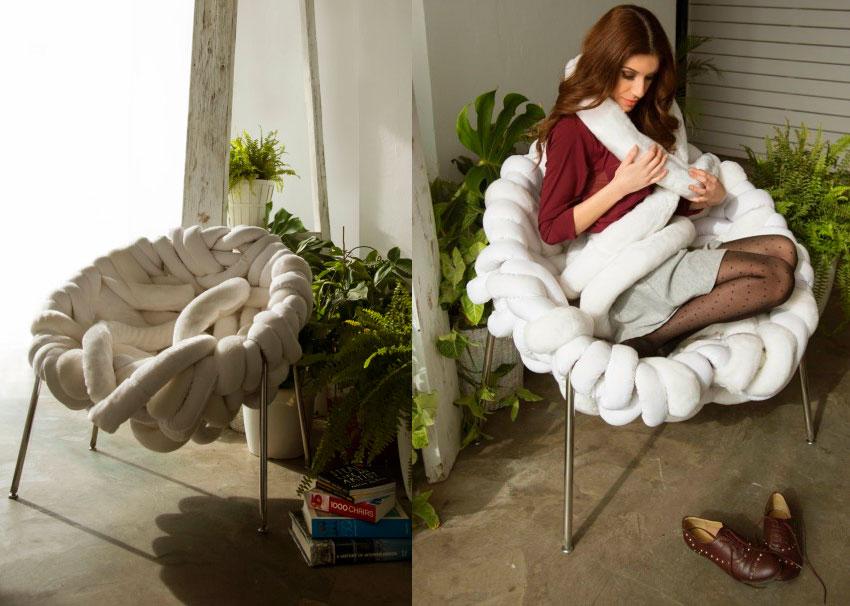 Tie White Armchair by Katerina Stavrinou Moleski