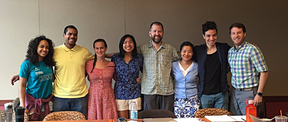 Weave News retreat, July 2016 from left to right: Michelle, Steve P., Jana, Nicole, John, Tsewang, Tzintzun, and Steve B.