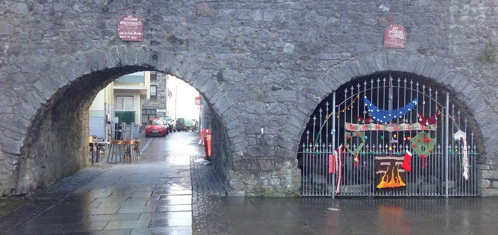 The Blind Arch, right next to the Spanish Arch, yarnbombed for Christmas!