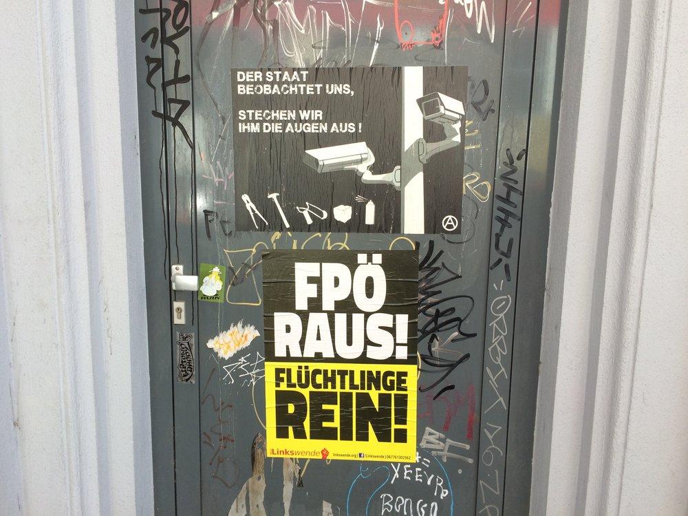 FPO (Austrian Freedom Party) Out! sticker. (Wyatt Adams)