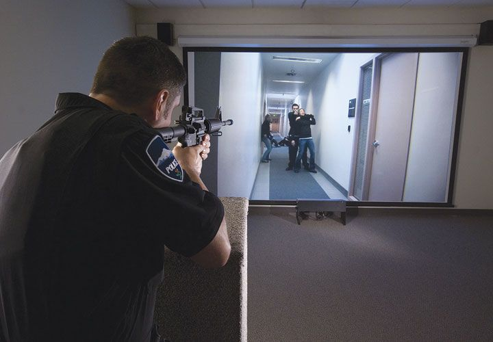 Use-of-force simulators are critical tools in police training. (Image: Police Magazine)