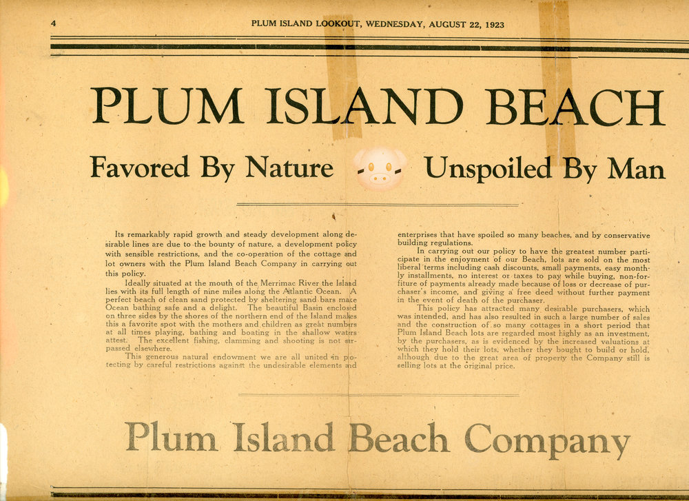 """Unspoiled by Man, Favored by Nature."" Plum Island Lookout  23 August 1923: 1. Print."