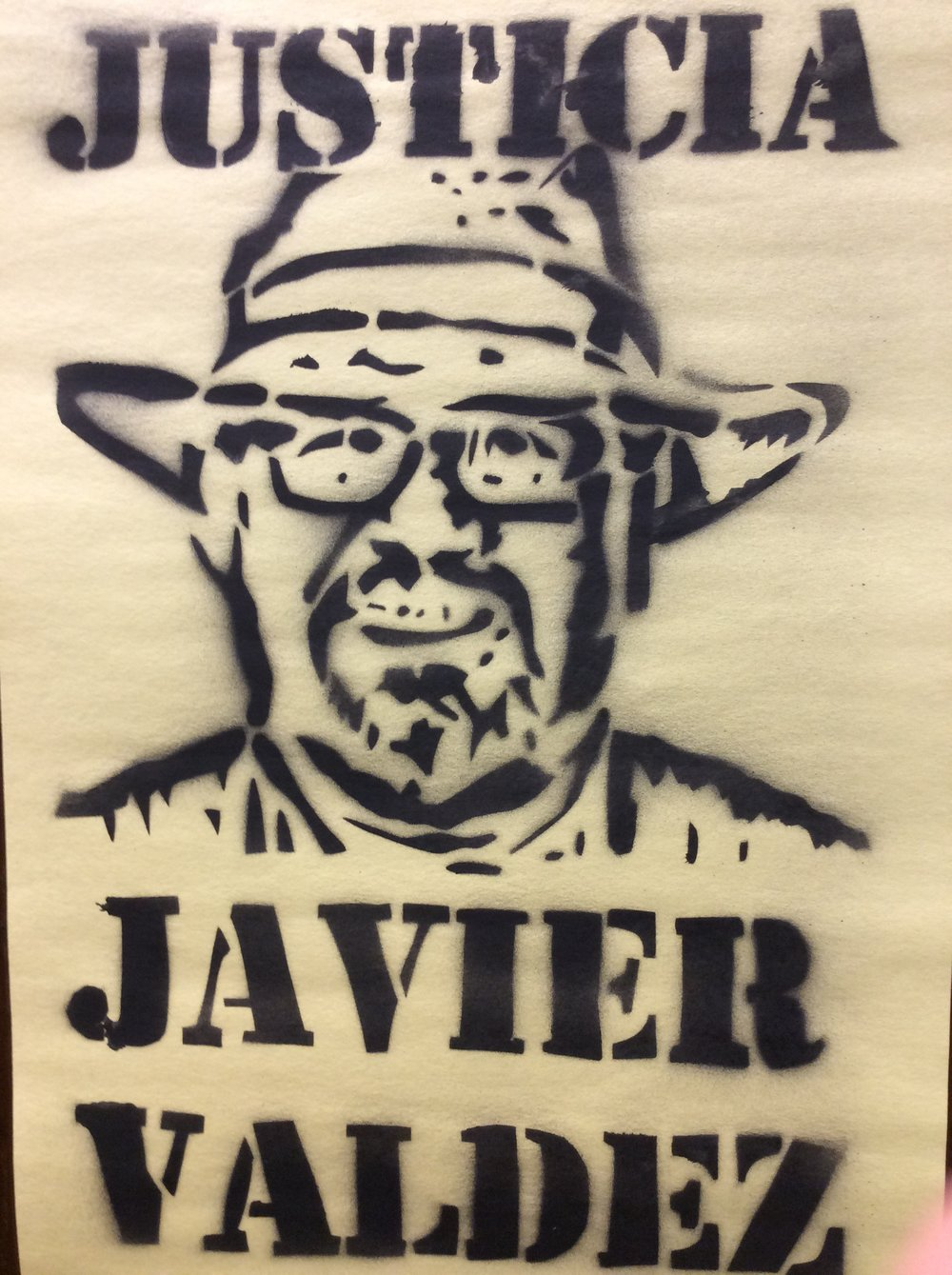 Stencil used during a vigil for Javier (created by Natalia Reyes and Michael Lettieri).