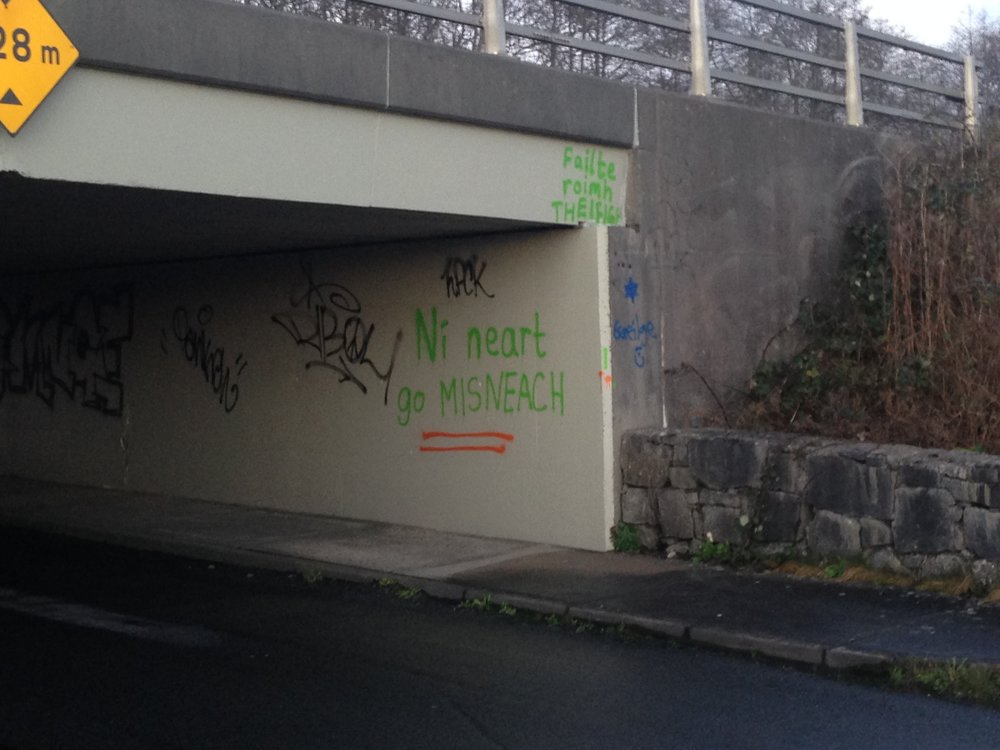 "The left outside wall of the Bridge reads   ""Fáilte roimh theifigh""    again (meaning ""Welcoming refugees""), and   ""Ni neart go MISNEACH""   in green spray paint, which says something about having strength and courage. Lastly, there is a blue six-pointed star with ""  Gaeligh  "" and a smiley face underneath, which is the Irish term for the Irish language or ""Gaelic""."
