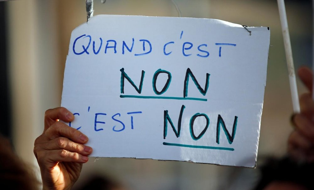 """No means no"" sign at French protest. (Euronews)"